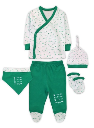 Multi - V neck Collar - - Green - Baby Suit