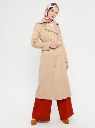 Mink - Unlined - V neck Collar - Trench Coat - Miss Cazibe