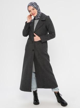 Gray - Unlined - V neck Collar - Acrylic -  - Coat