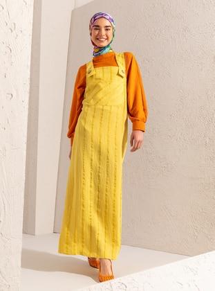 Yellow - Green - Stripe - Unlined - Sweatheart Neckline - Viscose - Jumpsuit