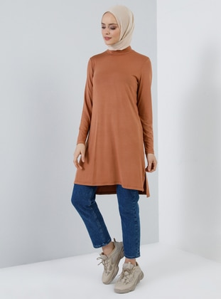 Bronze - Polo neck - Viscose - Tunic