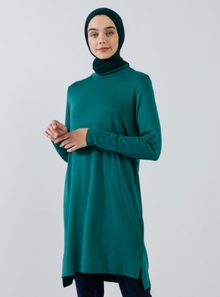 Green - Polo neck - Viscose - Tunic