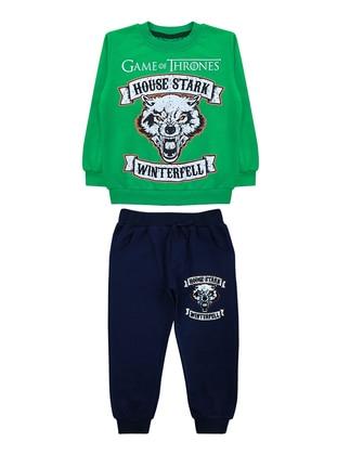 Crew neck -  - Green - Boys` Suit