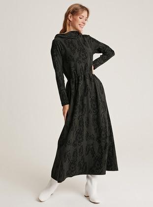 Khaki - Unlined -  - Wool Blend - Dress