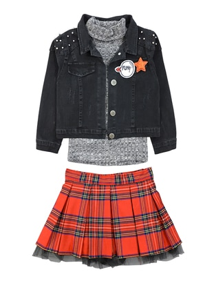 Plaid - Polo neck - Point Collar - Denim -  - Multi - Red - Girls` Suit