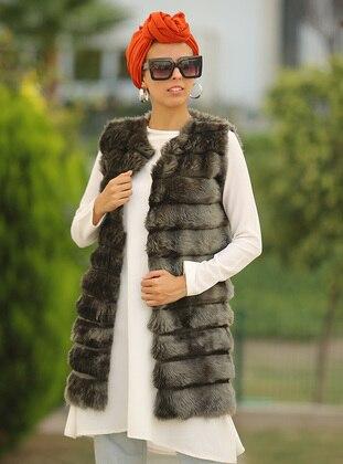 Khaki - Unlined - Acrylic -  - Vest