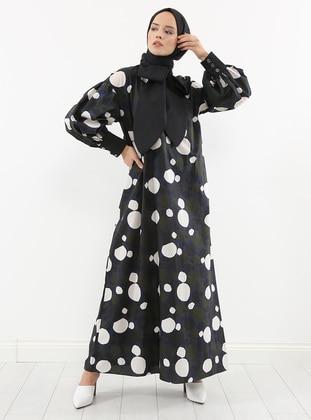 Black - Polka Dot - Unlined -  - Dress