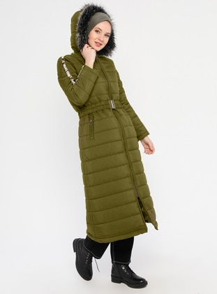 Khaki - Unlined - Crew neck - Coat
