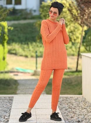 Orange - Unlined - Acrylic -  - Suit