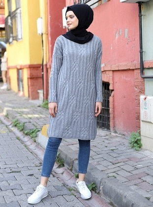 Gray - Crew neck - Acrylic -  - Tunic
