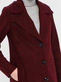Maroon - Unlined - V neck Collar - Acrylic -  - Coat