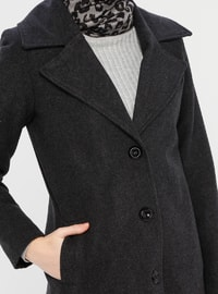 Anthracite - Unlined - V neck Collar - Acrylic -  - Coat