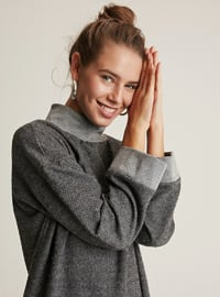 Gray - Polo neck -  -  - Wool Blend - Tunic