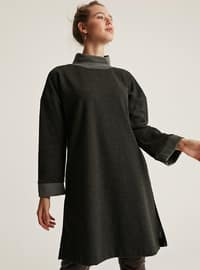 Green - Polo neck -  -  - Wool Blend - Tunic