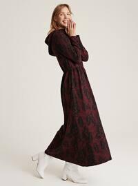 Maroon - Unlined -  - Wool Blend - Dress
