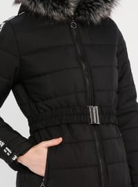 Black - Unlined - Crew neck - Coat