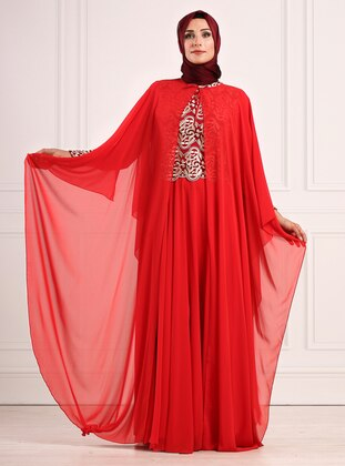 Coral - Fully Lined - Crew neck - Viscose - Muslim Evening Dress