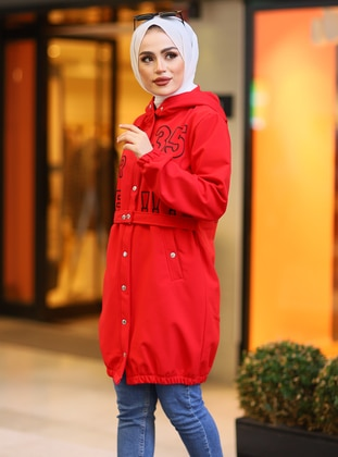 Red - Unlined -  - Coat