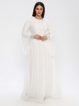 Ecru - Fully Lined - Crew neck - Muslim Plus Size Evening Dress