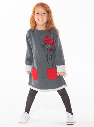 Crew neck -  - Unlined - Anthracite - Girls` Dress