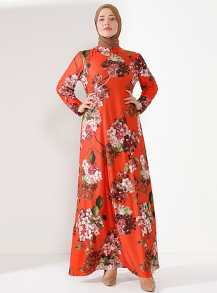 Orange - Floral - Crew neck - Unlined - Dress