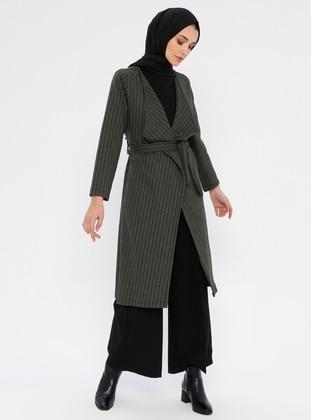 Khaki - Checkered - Unlined - V neck Collar -  - Topcoat