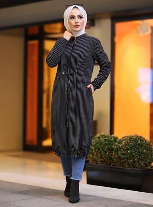 Black - Stripe - Unlined - Crew neck -  - Topcoat