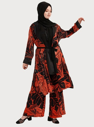 Black - Orange - Point Collar - Unlined - Plus Size Evening Suit