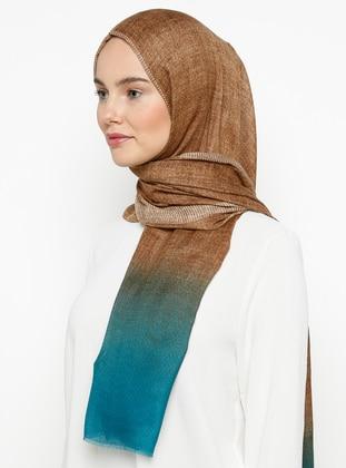 Brown - Turquoise - Printed - Shawl