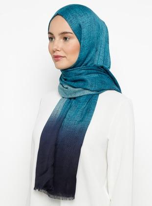Navy Blue - Turquoise - Printed - Shawl