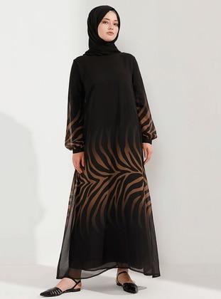 Beige - Black - Unlined - Crew neck - Muslim Plus Size Evening Dress