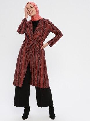 Terra Cotta - Checkered - Unlined - V neck Collar -  - Topcoat