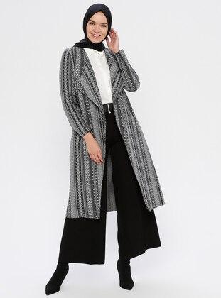 Gray - Black - Checkered - Unlined - V neck Collar -  - Topcoat