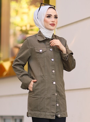 Green Almond - Green - Unlined - Point Collar -  - Jacket