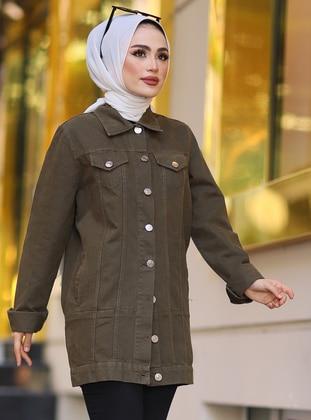 Khaki - Unlined - Point Collar -  - Jacket