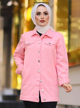 Pink - Unlined - Point Collar -  - Jacket