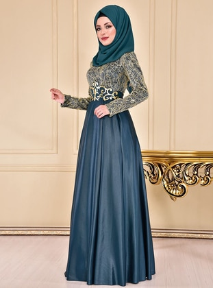 Emerald - Crew neck - Fully Lined - Dress - AYŞE MELEK TASARIM