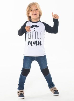 Crew neck -  - Unlined - White - Black - Boys` Suit