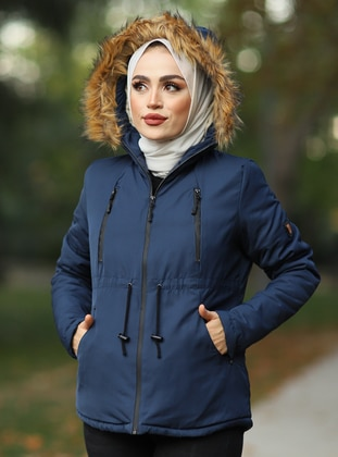 Navy Blue - Fully Lined -  - Puffer Jackets