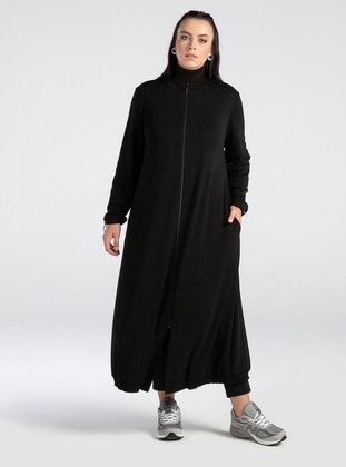 Black - Unlined - Polo neck - Abaya