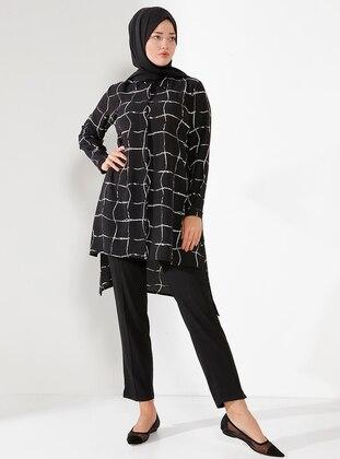 White - Black - Checkered - Point Collar - Blouses