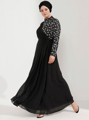Silver tone - Black - Unlined - Crew neck - Muslim Plus Size Evening Dress