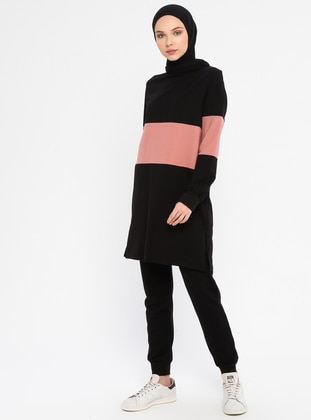 Dusty Rose - Black -  - Tracksuit Set