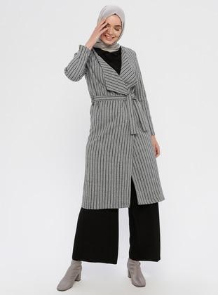 Gray - Checkered - Unlined - V neck Collar -  - Topcoat