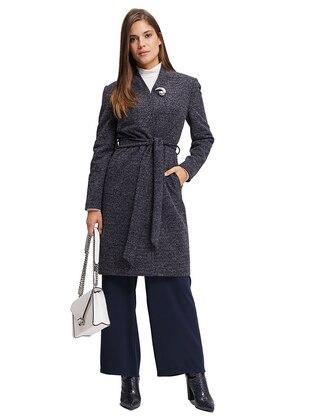 Navy Blue - Fully Lined - Viscose - Coat