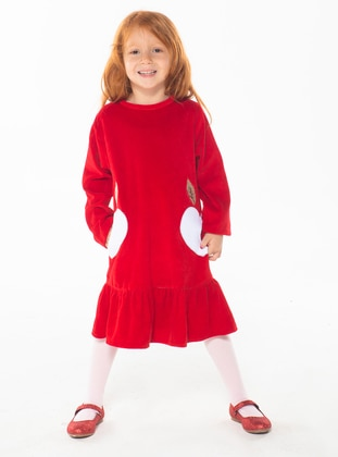 Crew neck -  - Unlined - Red - Girls` Dress - Zeno Kido