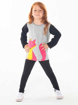 Crew neck -  - Unlined - Multi - Girls` Suit - Zeno Kido