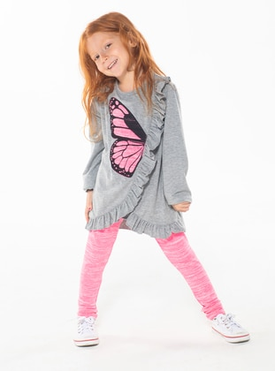 Crew neck -  - Unlined - Gray - Pink - Girls` Suit