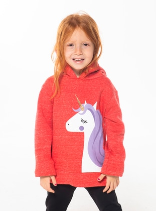 Crew neck -  - Unlined - Red - Girls` Suit