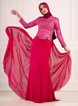 Fuchsia - Fully Lined - Crew neck - Viscose - Muslim Evening Dress